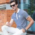 2016 мужская Мода Рубашки Поло Новый Коротким рукавом Печати Полоса Случайный твердые Рубашка Поло Мужская Хлопок Поло Тонкий Рубашки Поло для мужской