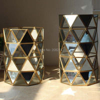 Upscale Geometric Cylinder European Retro High Candlestick Mirror And The Glass Phase Staggered