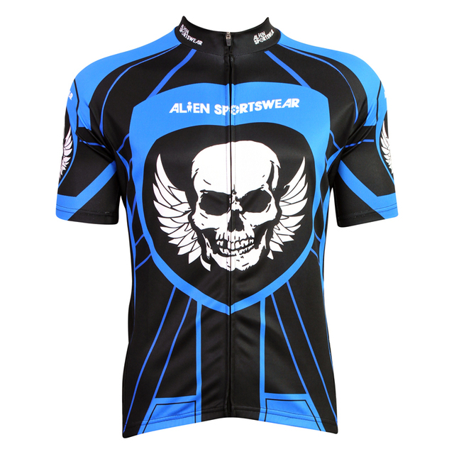 7b76c9f12 Alien SportsWear Wings Skull Pattern Men Summer Quick Dry Short Sleeve  Cycling Clothes Blue Polyester Bike Jersey Size XS To 5XL