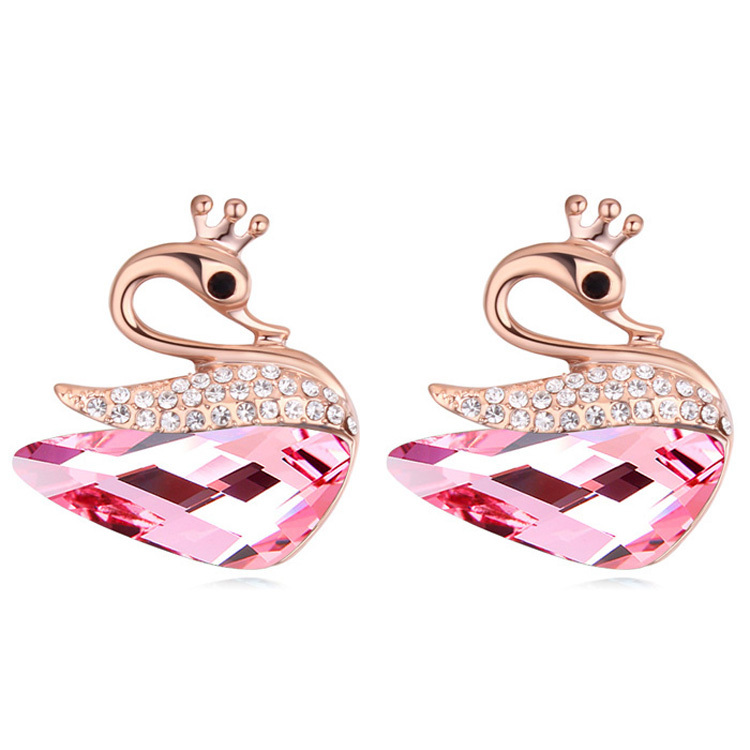 Animal Earrings For Kids S Swan Stud Austrian Crystal Christmas Famous Brand Jewellery Wedding Bijoux Gift In From
