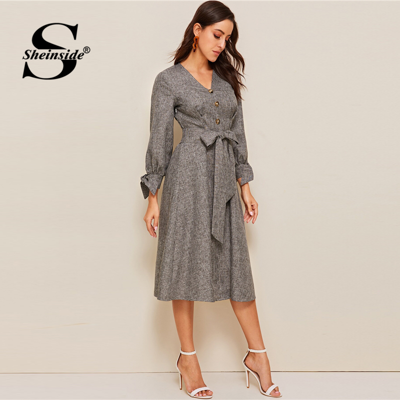 Image 2 - Sheinside Grey Elegant Front Button Detail A Line Dress 2019 Spring Lace Up Cuff Dresses Ladies Solid V neck Midi Dress-in Dresses from Women's Clothing