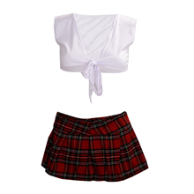 Hot White with Red School sexy lingerie Game uniform Student japanese kimono girls Maid Costumes erotic clothing pyjamas
