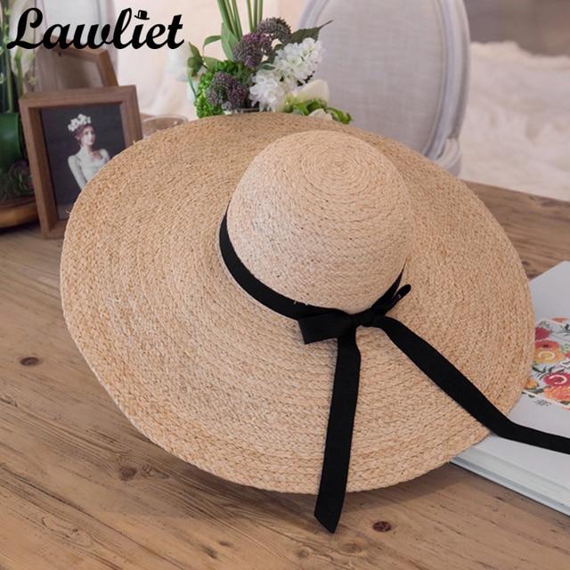 Summer Women Hat Kentucky Derby Hat 18cm Large Wide Brim Raffia Straw Hats  Feminino Floppy Sun Beach Cap Summer Hats for Women ccadd263b8a