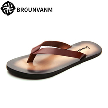 flip-flops men's Genuine Leather slippers summer leisure shoes sandals Sneakers Men Slippers casual Shoes beach outdoor male все цены