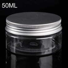 50ml Plastic Jar Travel Bottle Empty Cosmetic Containers Packaging Clear Tubes with Caps Aluminium Tins