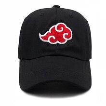 100% algodón japonés Akatsuki logotipo Anime Naruto sombrero de papá Uchiha  familia logotipo bordado gorras de béisbol negro . f1c48969170