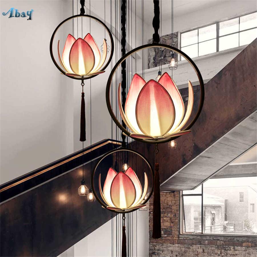 Китайский Лотос подвесные светильники классическая ткань для Гостиная Ресторан проход зал балкон Спальня подвесные светильники Лофт Декор