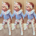 2016 New Adorable Autumn 3pcs Newborn Kids Baby Girls Lace Tops T-shirt+Floral Pants Headband Outfits Set