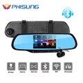 "Phisung 5.0 ""Touch Dual Cam Автомобилей ВИДЕОРЕГИСТРАТОРЫ с 1 ГБ RAM 8 ГБ ROM WiFi FM GPS Навигации Bluetooth Автомобильные Комплекты Автомобиль Зеркало Android Камеры"