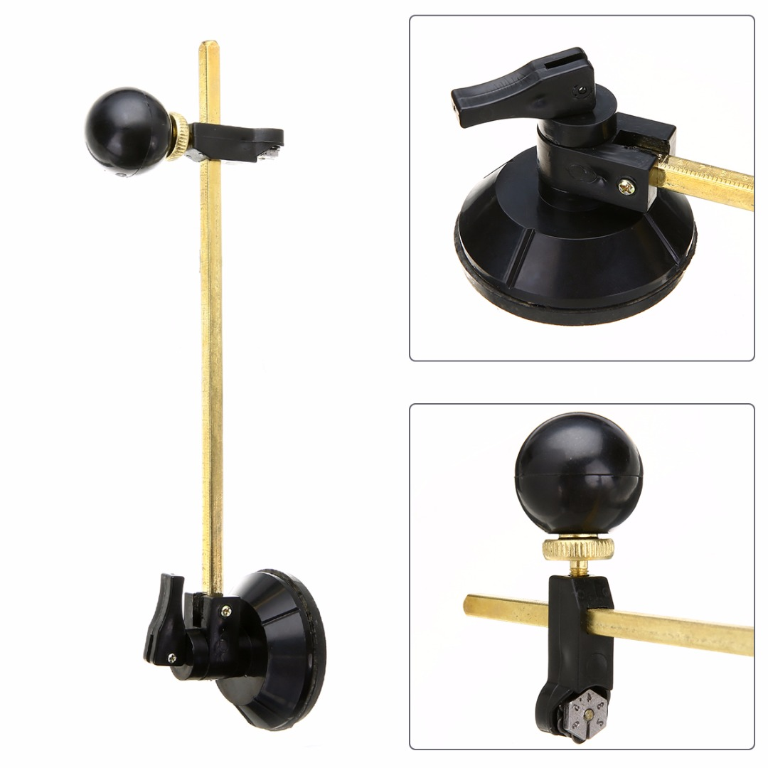 1 Pc 40cm Grass Cutter 6 Wheel Compasses Circular Cutting With Suction Cup Black Circle Cutter