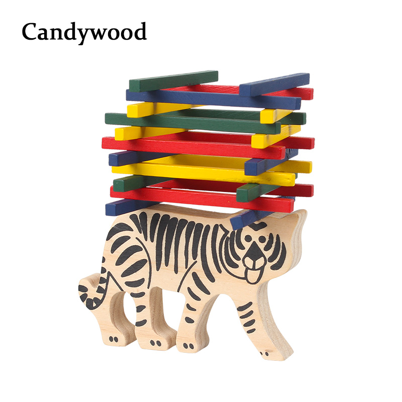 2018 New Tiger Balance Blocks Wooden Toys For Children Wooden Blocks Balance Game For Kids Educational Montessori Toys Boys