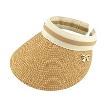 3a348c05821 Summer Open Top Straw Braided Sun Visor Hat Contrast Color Stripes Metal  Bowknot Decor Clip-
