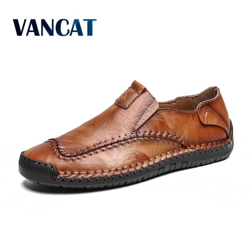 Vancat Spring New Comfortable Mens Casual Shoes Loafers Men Shoes Quality Leather Shoes Men Flats Moccasins Shoes Big Size 38-48