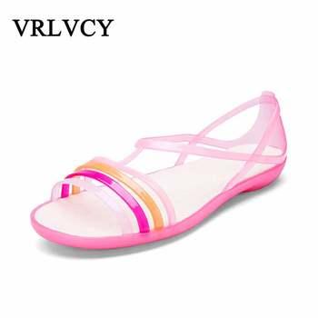 Women Sandals 2018 Summer New Candy Color Women Shoes Beach Valentine Rainbow Croc Jelly Shoes Woman Flats Sandals