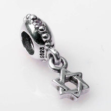 4e5793177 Real 925 Sterling Silver Bead Charm Star of David With Crystal Pendant Bead  Fit Pandora Bracelet Bangle DIY Jewelry