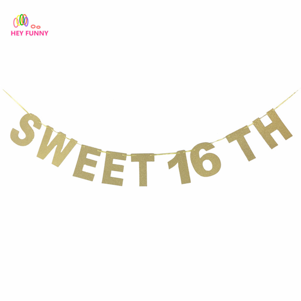 aliexpress com buy glitter paper sweet 16 th sweets letters banner