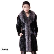 Lamb new fur coat 2017 autumn and winter fashion women fur coat imitation fox collar coat black fur coat 6xl mink coats women