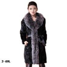 Lamb new fur coat 2017 autumn and winter fashion women imitation fox collar black 6xl mink coats