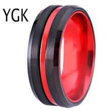 """8 מ""""מ נשים של חתונה אירוסין טבעת שחור טונגסטן טבעת עם אדום Anodized אלומיניום גברים של יום נישואים טבעת מסיבת מתנה זרוק ספינה"""