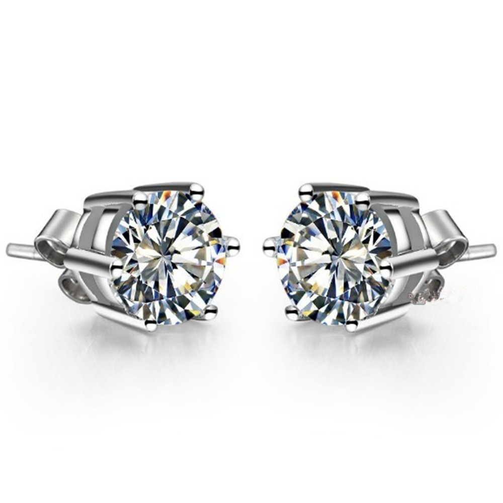 Piece Six Prongs Solid White Gold Earrings  Synthetic Diamonds Earrings Stud