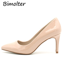 Bimolter 2019 New Fashion High Heels Women Pumps Thin Heel Nude Sexy Female Wedding Shoes Classic Ladies Office PXEB015