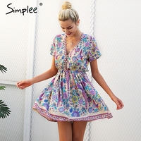 Simplee Print V Neck Button Boho Short Dress Women Casual Beach Pink Mini Dresses Vintage Flower