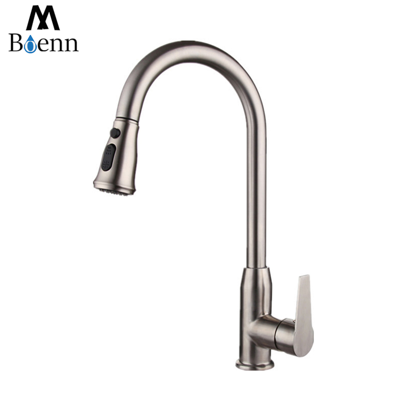 Pull Out Kitchen faucet 2 Functions Sink Mixer Faucet Pull Out Double Sprayer Nozzle Hot Cold Mixer Water Taps Brushed Finish