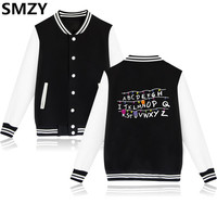 SMZY Stranger Things Baseball Jackets Men Winter Casual American Drama Hoodies Sweatshirt Tops Pullovers Fashion Funny Jackets