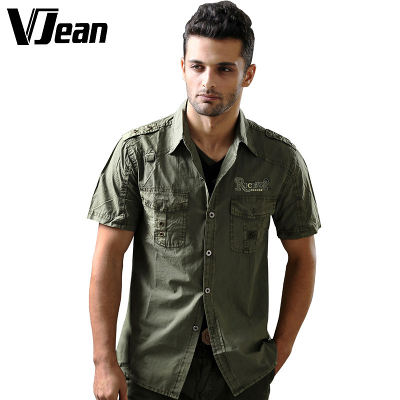 V JEAN font b Men s b font Military Uniform Short Sleeve Cotton font b Shirt