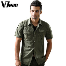 V JEAN Men's Military Uniform Short Sleeve Cotton Shirt Washed #9A222