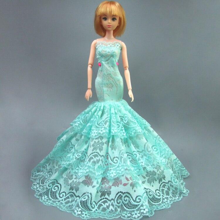 Бесплатная доставка подарок роскошные вечерние зеленый торжественное платье для 30 см куклы Барби