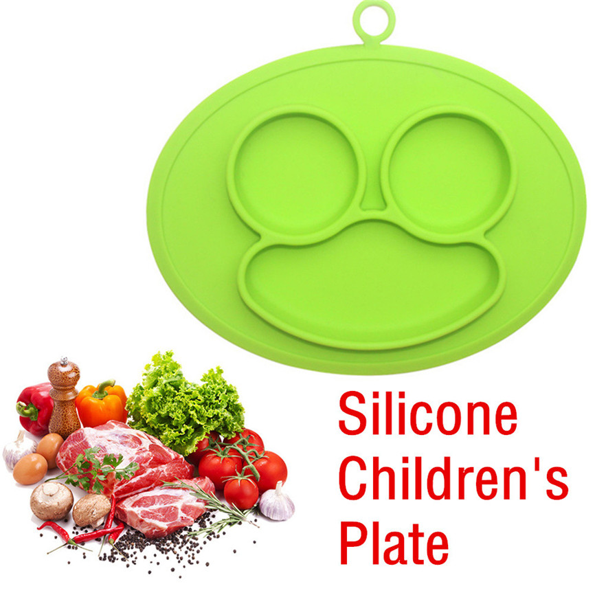 Kids One Piece Silicone Placemat Plate Dish Food Tray Table Mat for Baby Toddler 29*24.5 ...