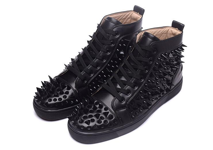 Handmade Luxury Shoes Men Black Spikes Shoes High Top Fashion Designers Shoes Brand Men Loafers Nightclub Red Bottom Men's Flats free shipping red bottom glitter spikes high heels spikes prom shoes with silver and black rhinestones spikes evening pumps