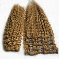 Cabelos Cacheados Crespo mongol Preto Mulher Afro Bizarro Clipe em extensões de cabelo 2 pcs Clipe Crespo crespo em Extensões Do Cabelo Loiro Mel humano