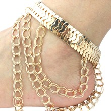 2017 Fashion Women Adjustable Double Layer Chain Metallic Exaggerated Heels Tassel Anklets Wholesale Good Quality Cute