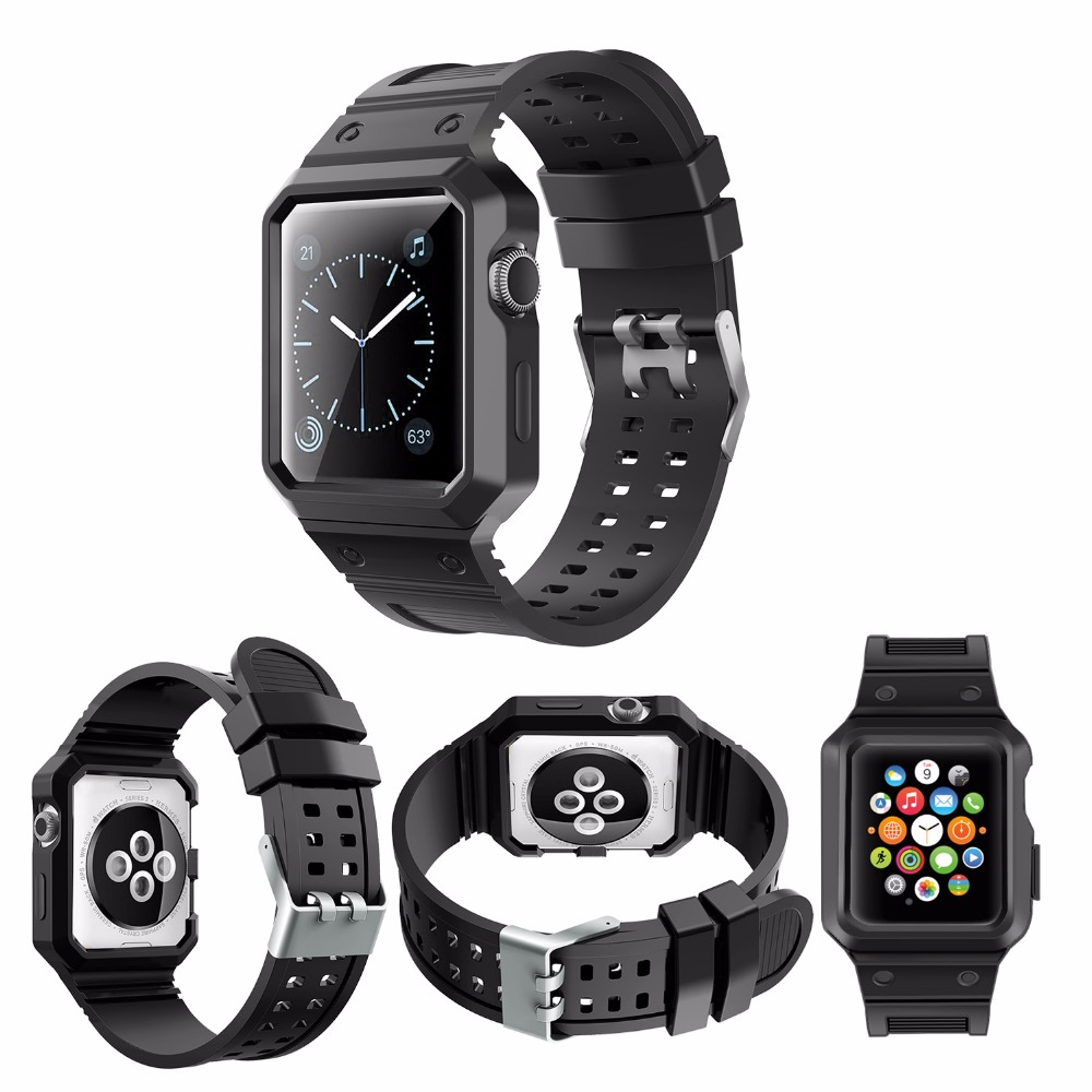 TPU Rubber Silicone Watches Bands For Apple Watch Bands 38mm 42mm Case series 1 2 3 Smart Watch Bands With Protective case apple apple silicone case