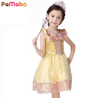 Appliques Princess Belle Dress 2017 Newest Girl Dress Character Sleeveless Cosplay Costume Cute Kids Performance