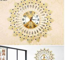 Kreative Diamant Pfau Wanduhr Von Europa-Art Stil Mode Metall Gesetzte Schneckenwelle Wohnzimmer Ruhig Quarz Halterung Uhr