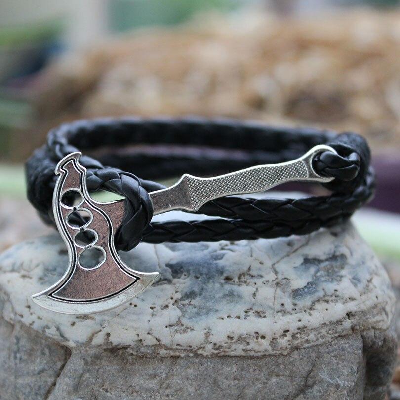 Viking Giant Axe Punk Bracelets black Synthetic leather Bracelet Vintage Retro Axe For Men Women Christmas Gift 40