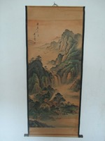 Home wall decoration painting ,Chinese old paper scroll painting , Li Fang Ying landscape