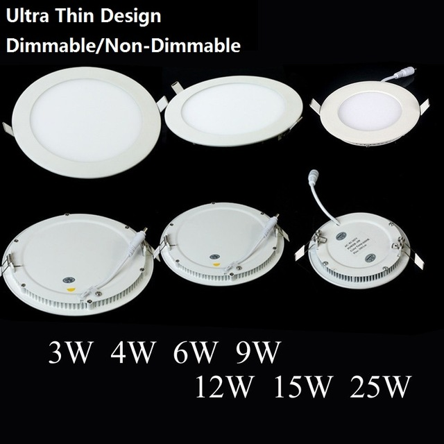 Dimmable LED Downlight 3W 4W 6W 9W 12W 15W 25W Recessed LED Ceiling Panel Light AC85-265V brightness adjustable 1pc free ship
