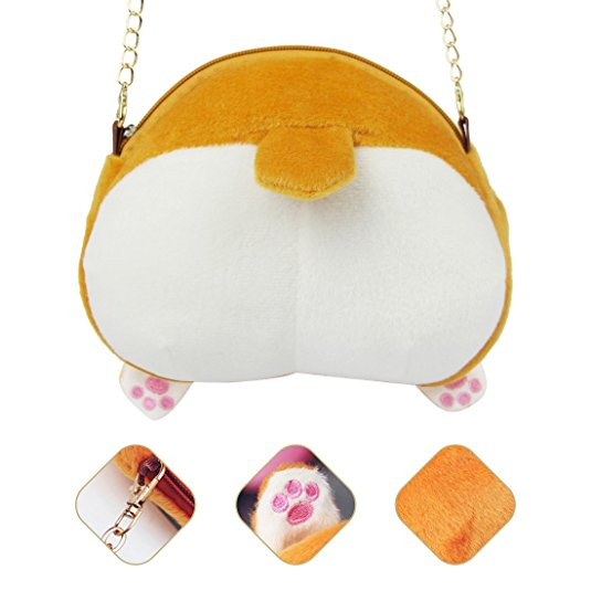Kawaii Corgi Butt Ass Wallet Plush Coin Bag Zip Handbag Keyring Bag Accessories