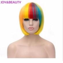 Glädje och skönhet hår 12inches kort rakt hår kvinnor peruk harajuku peruca cosplay peruk värmebeständig mix regnbåge färg