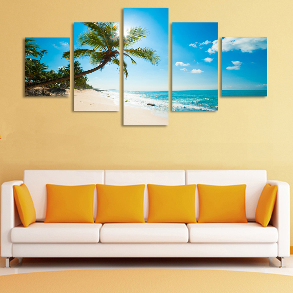 Canvas Painting 5 Panels Sunshine Beach Coconut Trees Picture Canvas ...