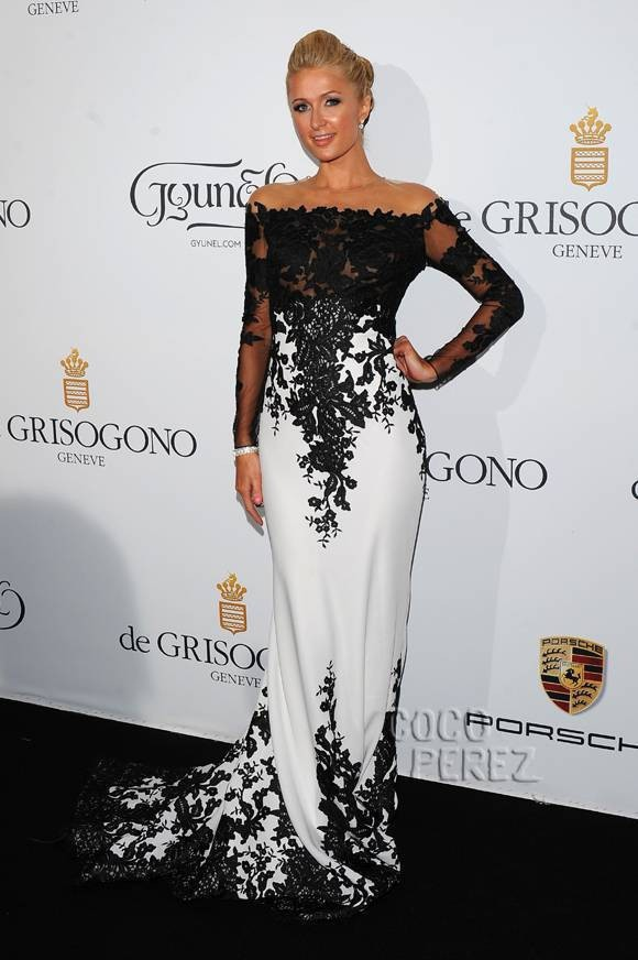 2015-Paris-Hilton-Celebrity-Dresses-Mermaid-High-Collar-Long-Sleeves-Black-White-Appliques-Long-Red-Carpet (2)