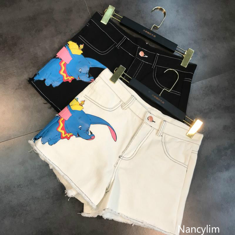 Nancylim New Summer Fashion Little Flying Elephant Cartoon Printed Jeans Shorts Hot Pants Girl Students Straight Denim Shorts