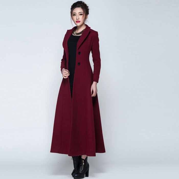 885e60fe55055 2018 Winter coat women Maroon Black Wool Coat Trench Long Coat Warm Women s  coat European Fashion Women s clothing-in Wool   Blends from Women s  Clothing on ...