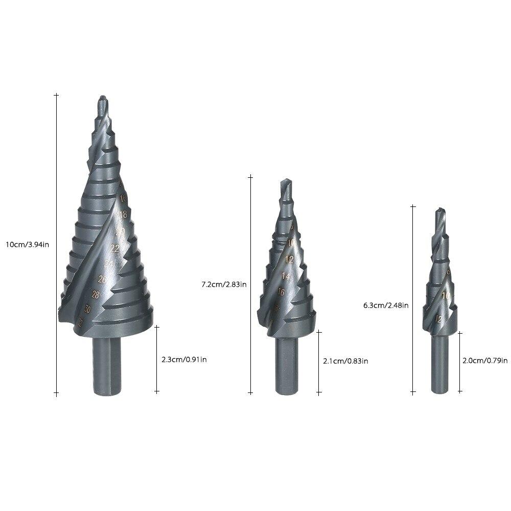 3pcs HSS Steel Titanium Step Drill Bit 4-12mm 4-20mm 4-32mm Step Cone Cutt Tools Woodworking Wood Metal Drill Bit Set