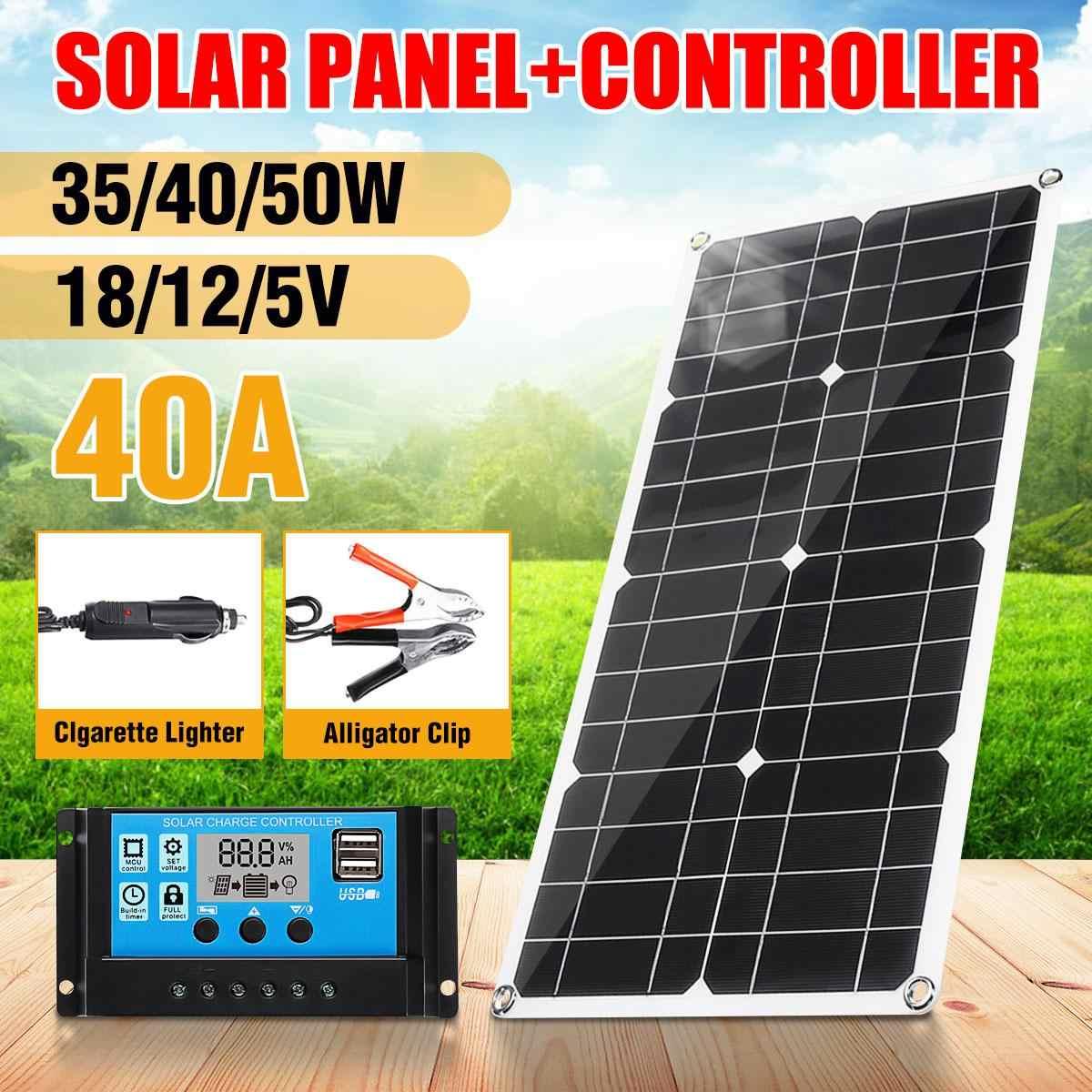 50 Вт солнечная панель 18 в/12 В/5 В солнечные батареи двойной USB поли солнечная панель выход 40А Контроллер для автомобиля яхты батарея зарядное устройство для лодки