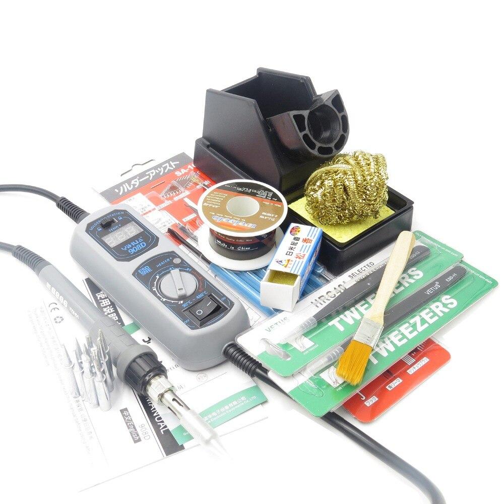 Yihua 908D 220 V 65 W hierro caliente LED pantalla digital Estación de soldadura de hierro de alta temperatura resistente línea de silicona